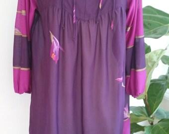 80s GAUZE TUNIC TOP—Cover Up—Like a Gottex—Gladiolus Print—Purple & Fuchsia