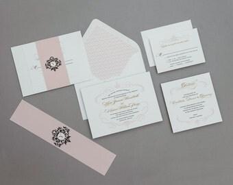Romantic Monogram French Baroque Wedding Invitations Deposit,French Monogram Wedding Invitation,Blush Wedding Invitations,Vintage Wedding