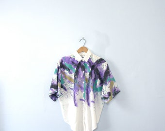 Vintage 80's abstract splatter blouse, art spatter shirt, size medium / small