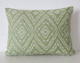 Robert Allen Strie Ikat Leaf green decorative pillow cover