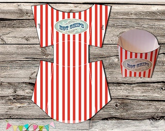 Chip Box - Carnival, Circus, Beach, Movie - Printable - DIY - Digital File - Gift Box - Packaging - Wedding - INSTANT DOWNLOAD