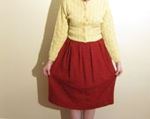 Vintage 1950s Red Skirt Wool Boucle / 50s Pleated Day Skirt / Medium