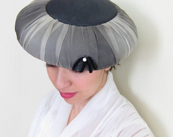 Vintage 1950s Designer Hat Saucer Style by Montebart in Black and Gray Ombre Silk / 50s Platter or Tilt Hat in Silk