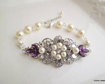 Bridal bracelet wedding pearl bracelet bridal bracelet with ivory Swarovski pearls and Swarovski crystals purple bracelet bridal cuff AMELIA