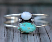Asymmetrical Nevada White Opal & California Turquoise Cuff Bracelet. Sterling Silver. One of a kind.