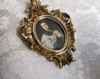 Vintage Florentine Picture Frame With Romantic Woman Portrait Wall Art Print Made in Italy, Ornate Resin Gold Silver Umber, Fleur de Lis