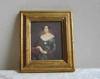 Vintage Florentine Woman Portrait in Gold Gilt Frame, Elegant Lady Wall Art Print by G. Vanghi Italy