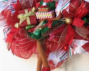 Christmas Wreath, Winter Wreath, Deco Mesh Wreath, Ready for Christmas, Front Door Wreath