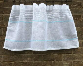 White Cafe Curtain, French Linen Kitchen Window Curtain, Aqua Blue Bathroom, Country Decor