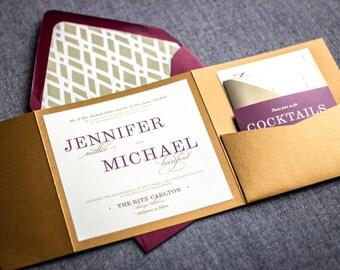 "Purple and Gold Wedding Invitations, Plum Invitations, Luxury Wedding, Modern Invite, ""Classic Elegance"" - Pocketfold, No Layers, v2-DEPOSIT"
