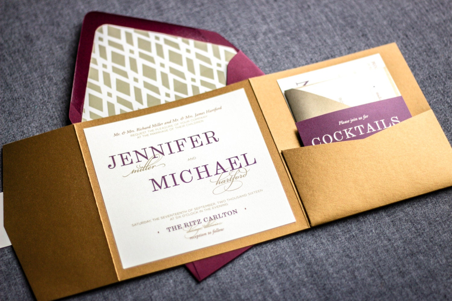 Purple And Gold Wedding Invitations: Plum And Gold Wedding Invitations Purple By JulieHananDesign