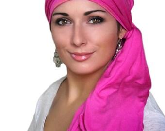 Hot Pink Fuchsia Magenta Head Wrap Chemo Hat Turban Alopecia Scarf, Hat & Scarf Set 78-29