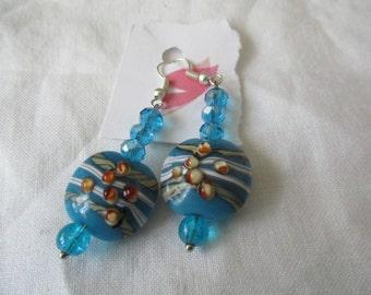 Blue and white, brown lampwork bead pierced earrings
