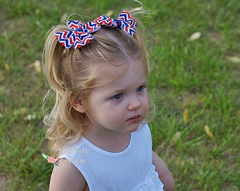 4th of July Hair Bows, July 4th Pigtail Hair Bows, Baby Girls Hair Accessories, Baby Barrettes, Little Girls Hair Bows, Hair Bows for Girls