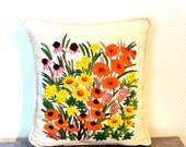 vintage floral throw pillow - 1960s embroidered flower mid century pillow