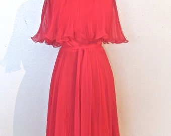 vintage hot pink chiffon dress - 1960s Miss Elliette pink pleated chiffon dress