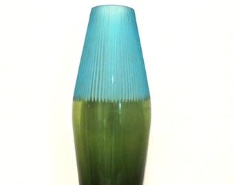 vintage art glass vase - 1950s-60s mid century blue/teal large tall vase