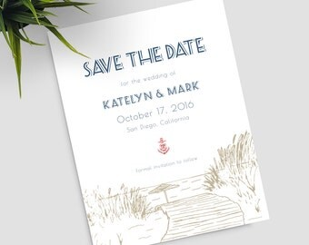"Beach Wedding Save the Date, ""Nautical Boardwalk"", boardwalk sketch, Nautical style; SAMPLE ONLY"
