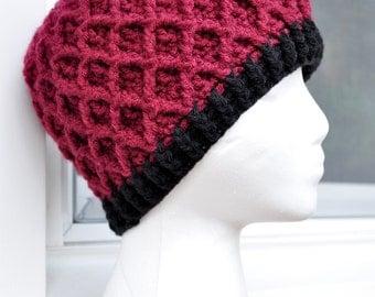 Crochet Lattice Hat - Burgundy with Black