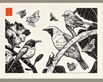 Birds and Moths - Handmade Letterpress Print