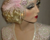 PINK PASSION & PEARLS - Great Gatsby Headband, 20s Baby Pink, Pearls And Crystal Headband, Old Hollywood Headpiece, Pink Flapper Headband