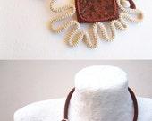 Crochet Necklace Natural Granite Rock Ecru Cinnamon, Modern Granny Square Bib Necklace, Freeform Tube Collar, Crochet Necklace Granite Stone