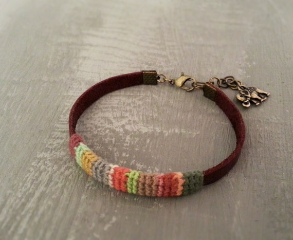 Friendship Mens Bracelet, Leather Men Bracelet, Indian Elephant Charm, Distressed Bracelet, Gift for Men
