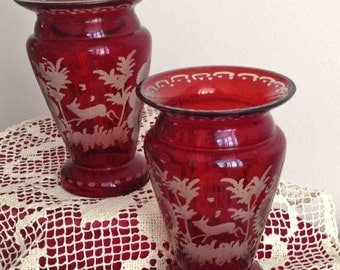 Bohemian Vases, Pair of Czech Ruby Red Vases, Stag Pattern, 65+ years old, Vintage Glass