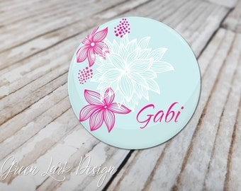 Pocket Mirror Personalized For You Great Bridesmaids Gifts- Personalized Bridesmaid Mirror - Modern Floral in Pink & Light Blue