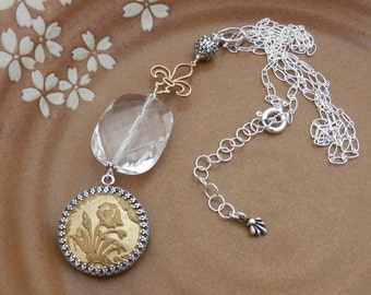 Antique Button, AAA Crystal, and FLeur de Lis Pendant With Sterling Chain