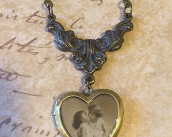 Vintage Locket, Photo Locket, Brass Locket, Heart Locket, Locket Necklace, Gift for Her, Locket Necklace, Gift for Her, Image Photo Locket
