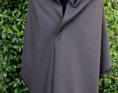 Gray plaid wool shawl, hand fringed