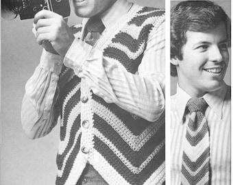vintage crochet pattern mens mans ripple knit look neck tie and vest set bundle printable pdf download diy 1960