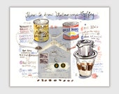 Vietnamese coffee recipe illustration print, Kitchen wall decor, Watercolor coffee painting, Coffee art print, Food art, 8X10 Vietnam poster