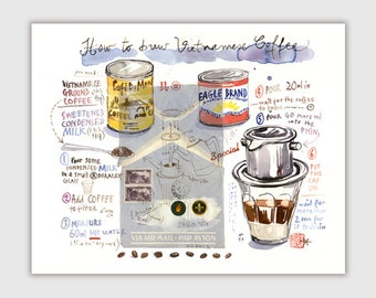 Coffee art, How to brew Vietnamese coffee illustration print, Recipe wall art, Asian kitchen decor, Watercolor poster, Vietnam lover gift