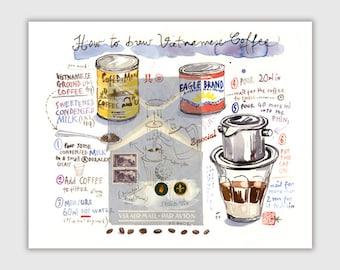 Vietnamese coffee recipe illustration print, Kitchen wall decor, Watercolor coffee painting, Coffee art print, Food artwork, Vietnam poster