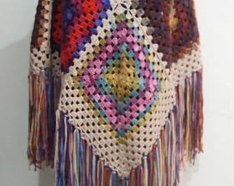 Boho Poncho Granny Square Poncho Crochet Afghan Poncho Oversized Cape Bohemian Poncho Women Fashion Accessories Free Shipment