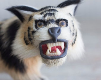 Vintage Fur Taxidermy Style Lynx Bobcat Cat Figurine, Striped Tiger Stuffed Animal, Tribal Home Decor