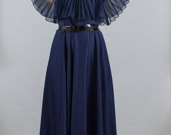 Vintage Navy Blue Accordion Pleat 1960s 60s Ballerina Cape Dress M L