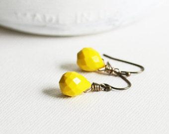 Yellow Drop Earrings - Mustard Yellow Earrings with Antiqued Brass Hooks, Small Teardrop Earrings, Yellow Dangles, Quartz Glass Jewelry