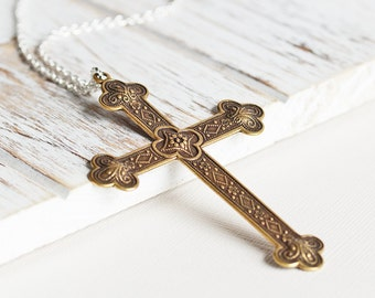 Large Cross Necklace - Antiqued Brass Cross Pendant with Silver Plated Chain, Long Pendant Necklace, Two Tone Necklace, Spiritual Jewelry