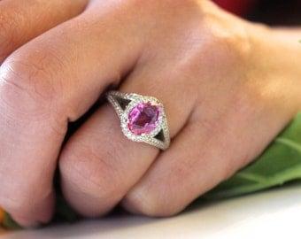 2 CT Pink Sapphire Engagement ring, halo wedding ring, split band ring, white gold diamond ring
