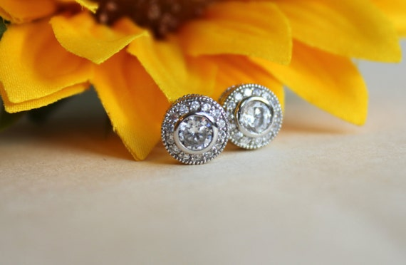 CZ crystal halo Earrings, white Stone earrings, art deco studs, halo stud earrings