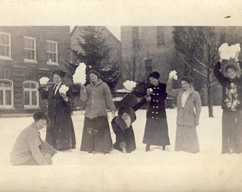 Young Woman About to START a SNOWBALL FIGHT In This Fun Photo Postcard Circa 1910