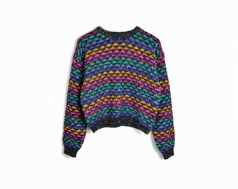 february sweater sale!! Vintage 80s Neon Triangles Sweater - women's small