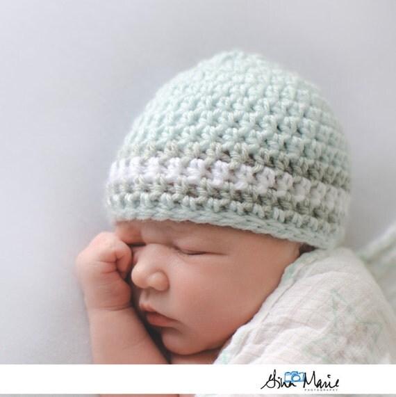 Newborn Hat Crochet Hat Baby Boy Hat Hospital by - Baby Boy Dresses 0-3 Months