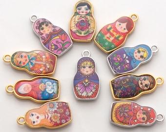 Matryoshka charm set - set of 10 random russian doll charms, nesting doll charms