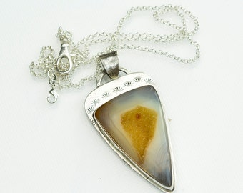 Gold Agate Drusy Pendant in Sterling Silver