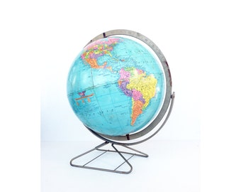 Mid Century Replogle Globe on Brass Stand