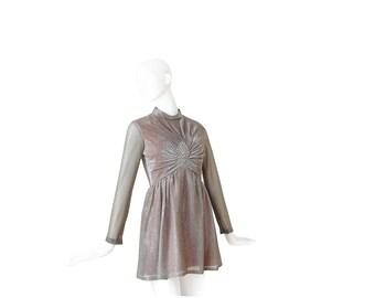 70s MINI Dress • 1970s Lamé Party Dress • Cocktail • S / M Small Medium